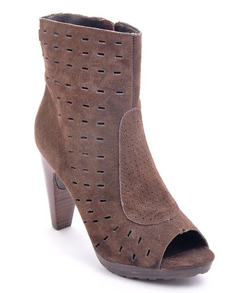 Brown Throttle Leather Peep-Toe Boot