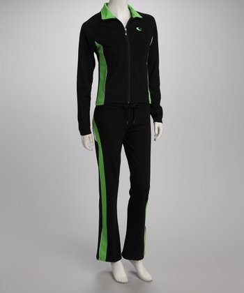 Green Color Block Track Jacket & Pants