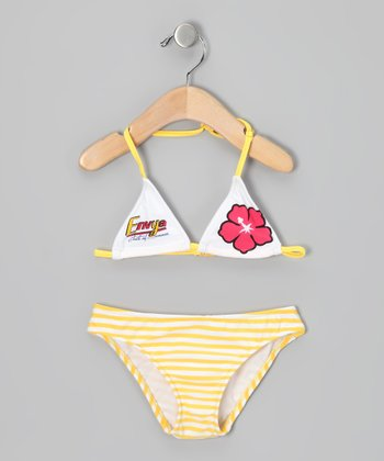 Yellow Hawaiian Stripe Bikini - Girls