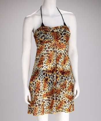 Yellow Hot Leopard Strapless Cover-Up