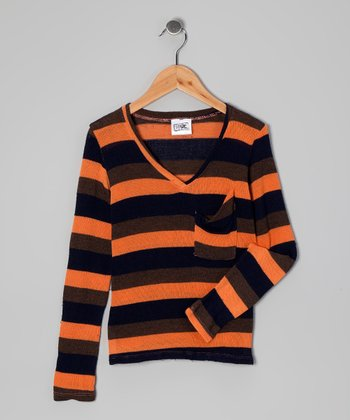 Orange Stripe V-Neck Sweater - Girls