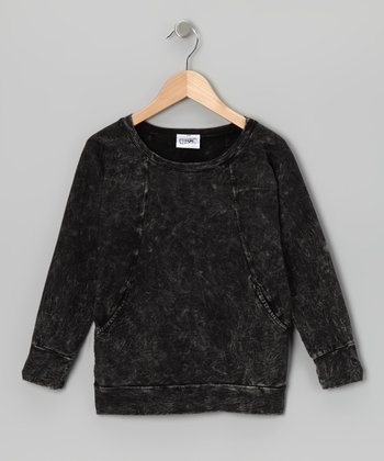 Black Mineral Wash Top - Girls
