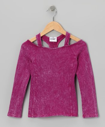 Magenta Layered Racerback Top - Girls