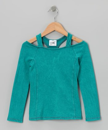 Teal Layered Racerback Top - Girls