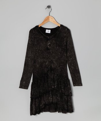 Black Mineral Wash Dress - Girls
