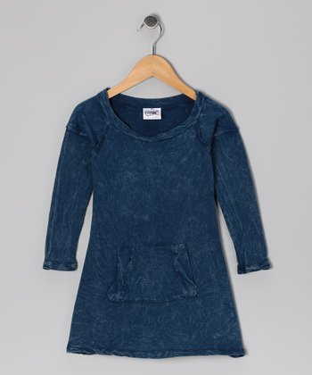 Navy Mineral Wash Pocket Dress - Girls