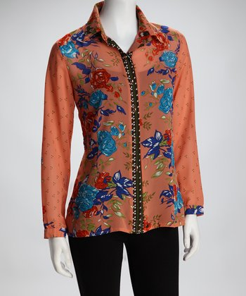 Orange & Pink Sheer Floral Button-Up