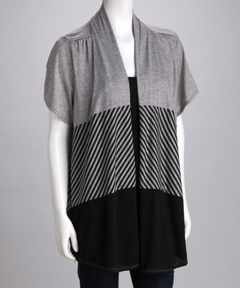 Gray & Black Plus-Size Top