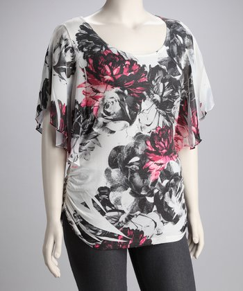 Fuchsia Flower Graphic Plus-Size Top
