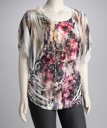 Purple Flower Graphic Plus-Size Top