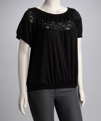 Black Lace Plus-Size Top