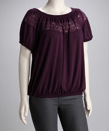 Purple Lace Plus-Size Top