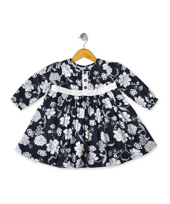 Navy Nancy Babydoll Dress - Toddler