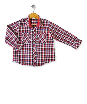 Red Oakland Long-Sleeve Button-Up - Toddler & Boys