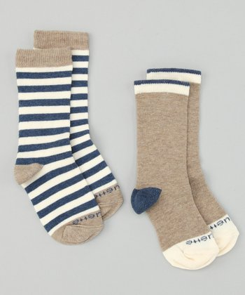 Heather Blue Abbey Stripe Sock Set