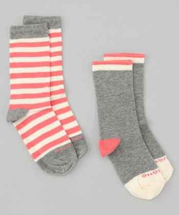 Heather Pink & Gray Abbey Stripe Socks Set