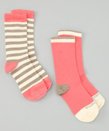 Heather Brown & Pink Abbey Stripe Socks Set