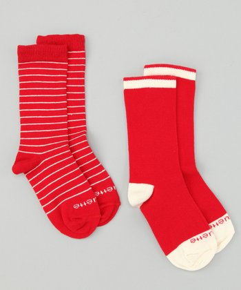 Fire Red & Panna Cotta Ecru Happy Stripe Socks Set