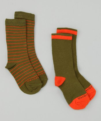 Olive Green & Orange Peel Happy Stripe Socks Set