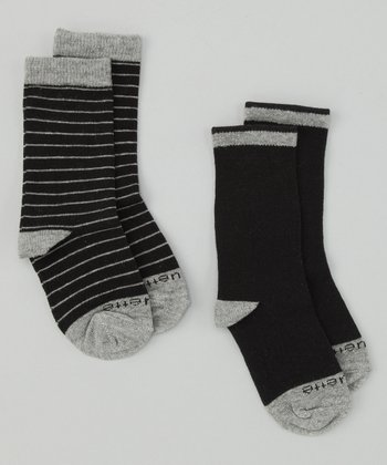 Tux Black & Heather Gray Needle Stripe Socks Set