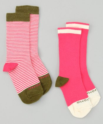 Hot Pink & Olive Green Sailor Stripe Socks Set