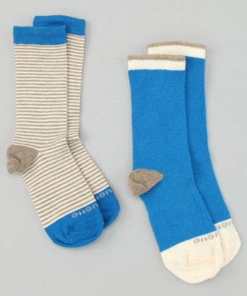 Heather Brown & Azure Blue Sailor Stripe Socks Set