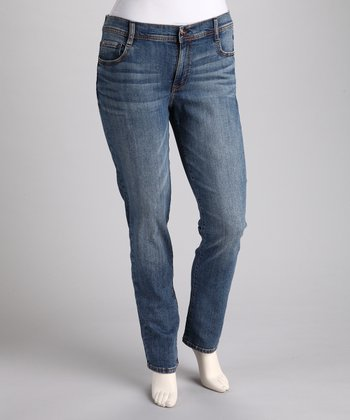 Vintage Stone Wash Straight-Leg Jeans - Plus