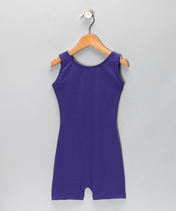 Purple Stretch Biketard - Girls
