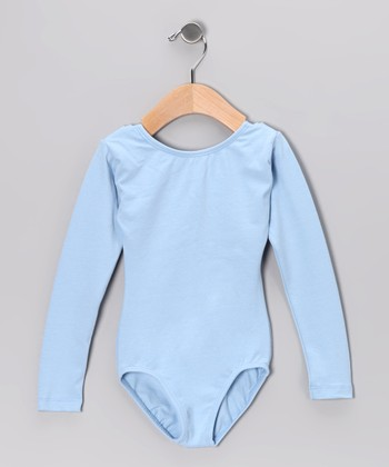 Light Blue Long-Sleeve Leotard - Toddler & Girls