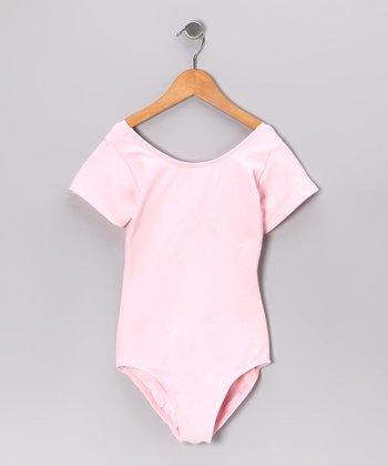 Light Pink Short-Sleeve Leotard - Toddler & Girls