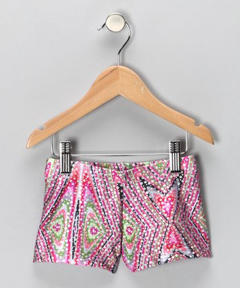 Magenta Kaleidoscope Shorts - Girls
