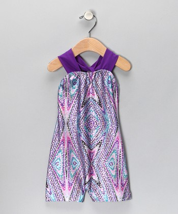 Purple Kaleidoscope Halter Biketard - Girls