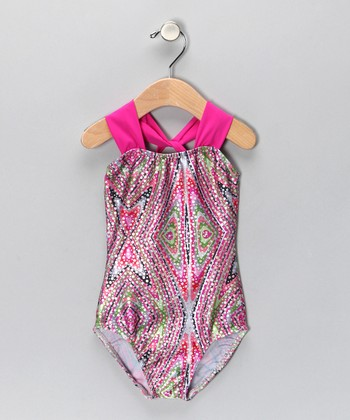 Magenta Kaleidoscope Halter Leotard - Girls