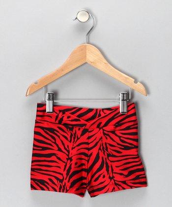 Red & Black Zebra Shorts - Girls