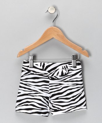 White Zebra Shorts - Girls