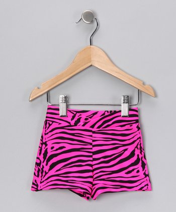 Magenta Zebra Shorts - Girls