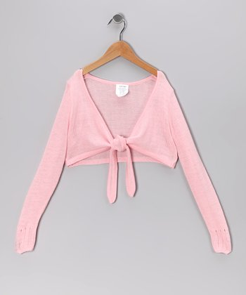 Light Pink Tie-Front Bolero - Girls