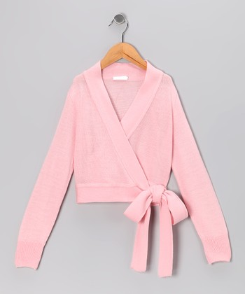 Light Pink Wrap Sweater - Girls