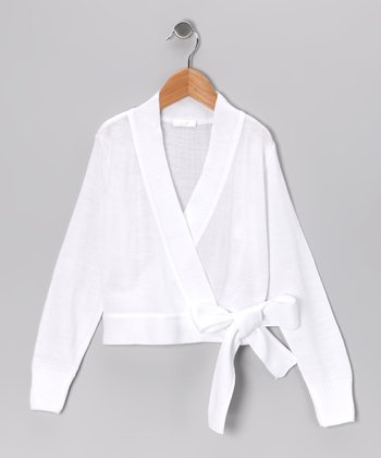 White Wrap Sweater - Girls