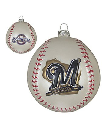 Milwaukee Brewers Glass Baseball Ornament