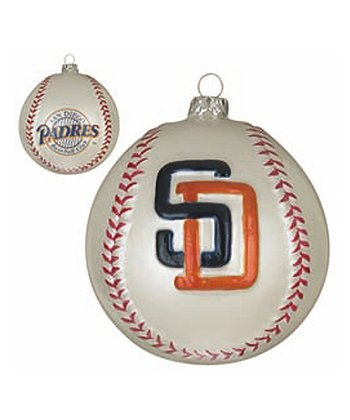 San Diego Padres Glass Baseball Ornament