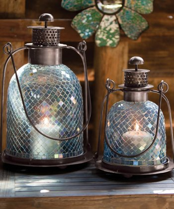 Blue Mosaic Glass Lantern Set