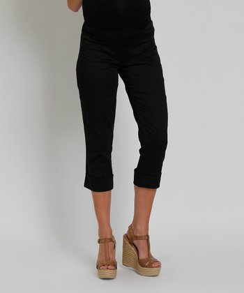 Black Carrie Mid-Belly Maternity Capri Pants