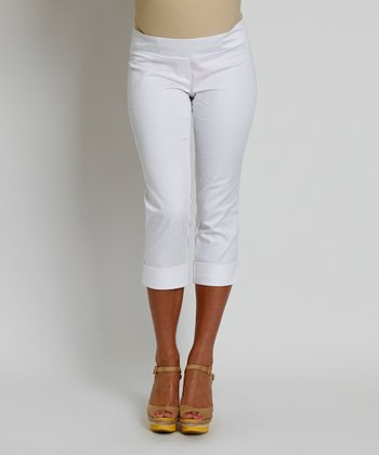 White Carrie Mid-Belly Maternity Capri Pants