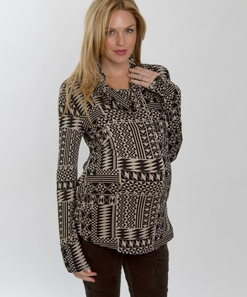 Brown Geometric Kelsey Maternity Tunic