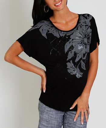 Black Flower Prima Maternity & Nursing Top