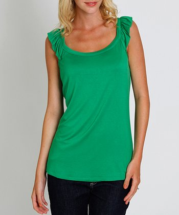 Kelly Green Ruffle Lizzie Maternity & Nursing Tank