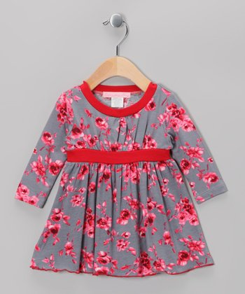 Gray & Mauve Holiday Rose Dress - Infant & Toddler
