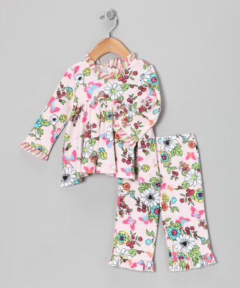 White Floral Top & Pants - Infant