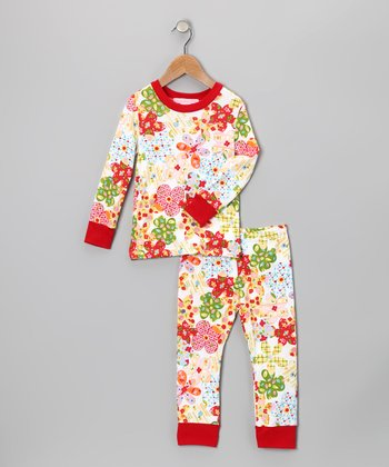 Red Floral Pajama Set - Infant, Toddler & Girls
